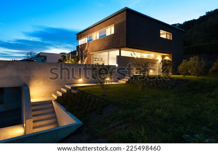 Architecture modern design, beautiful house, night scene #225498460