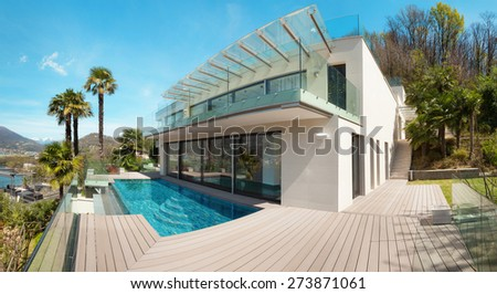 architecture, modern house, beautiful patio with pool, outdoor