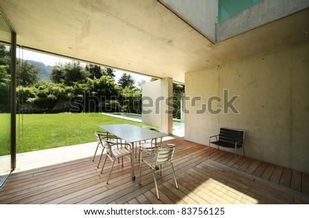 Architecture, modern house outdoors, veranda