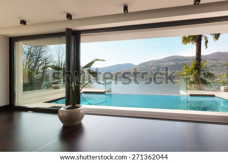 architecture, modern house, pool view from the living room