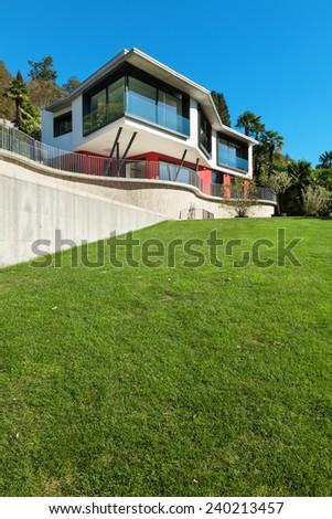 Architecture, modern villa, view from the garden
