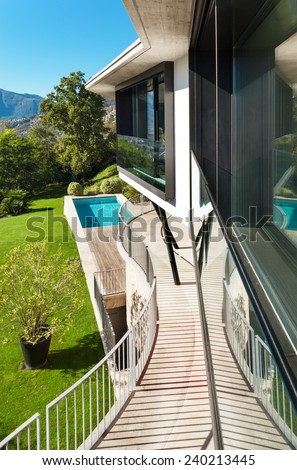 Architecture; modern villa; view from the terrace
