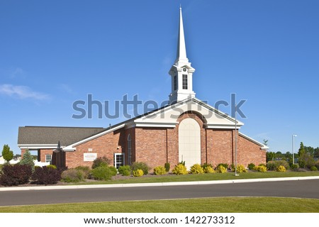 Architecture of a Church of Latter-day Saints in Twin Falls Idaho. - stock photo