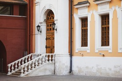 Architecture of Ancient Moscow. Old coinage on Red Square. Cozy old courtyard of the 19th century.