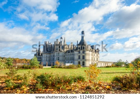 Architecture of Chateau de chambord royal medieval french castle in loire valley at France #1124851292