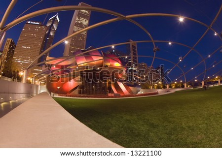 Architecture of Chicago at night.