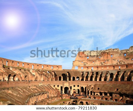 architecture of colosseum or coloseum at Rome Italy with Sunny Sky