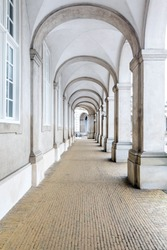 Architecture of corridor hall of Parliament building in Copenhagen Denmark. Landmark architecture and toyrism concept.