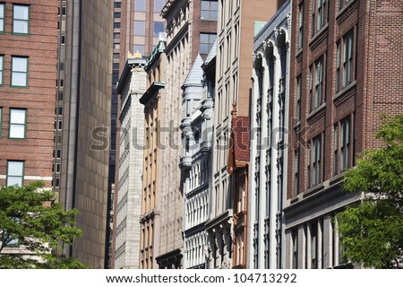 Architecture of downtown of Boston, Massachusetts