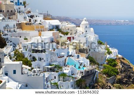Architecture of Fira town on Santorini island, Greece
