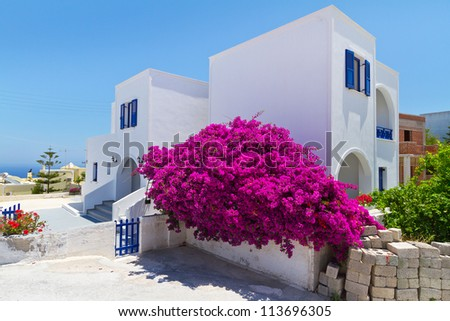 Architecture of Fira town on Santorini island, Greece