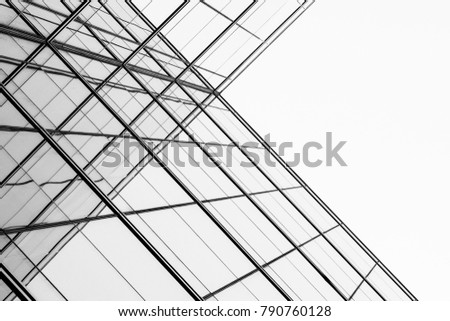 architecture of geometry at glass window - monochrome #790760128