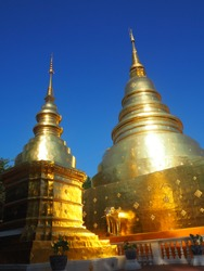 Architecture of gold pagoda at Prasing temple Chiengmai Thailand