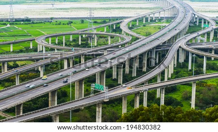 Architecture of highway construction with beautiful curves in daytime in Taiwan, Asia.