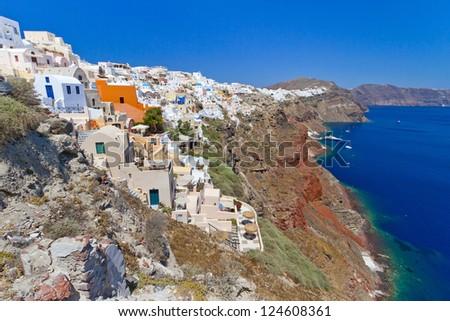 Architecture of Oia town on Santorini island, Greece