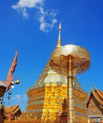 Architecture of pagoda in Wat Phrathat Doi Suthep at Chiengmai Thailand
