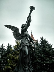 architecture of the city in the park angel statue
