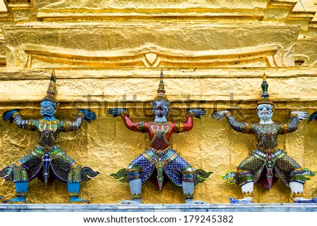 Architecture of the Grand Palace, in  Bangkok, Thailand