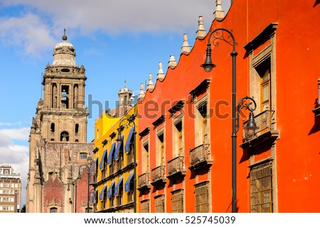 Architecture of the historic part of Mexico City, DF, the capital and most populous city of Mexico #525745039
