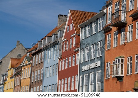 Architecture of the houses at Nyhavn in Copenhagen, Denmark