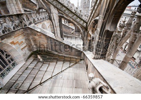 Architecture of the Milan Cathedral overhead shot