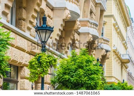 Architecture of Zrinyi utca in Budapest, Hungary Stock fotó ©
