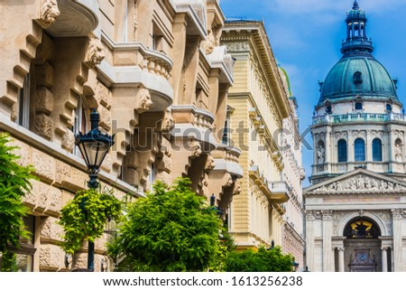 Architecture of Zrinyi utca with St. Stephen's Basilica in Budapest, Hungary Stock fotó ©
