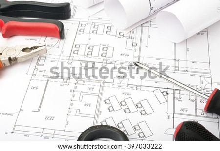 Architecture plan and rolls of blueprints #397033222