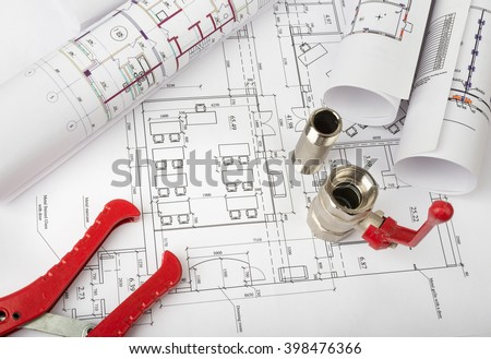 Architecture plan and rolls of blueprints #398476366