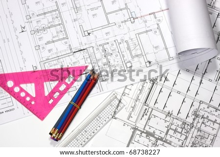 Architecture plan draw & drawing instruments