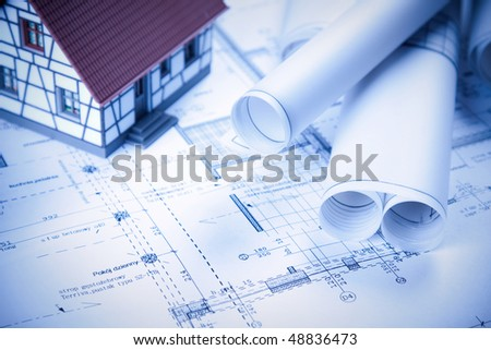 Architecture plans, home project in blue