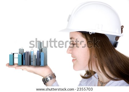 architecture project - woman holding buildings over a white background