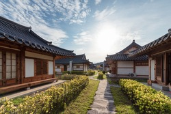 Architecture traditional oriental wooden house with blue sky on sunny day at Ojuk Hanok Village, Gangwon-do, South Korea