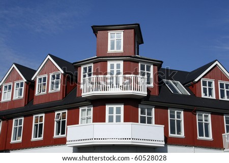 Architecture typical for nordic countries, Reykjavik in Iceland