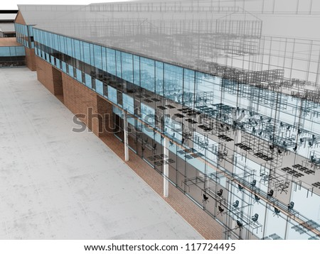 Architecture visualization of plant with offices and fabrication places