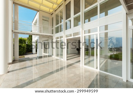 Architecture, wide veranda of a modern house, exterior stock photo