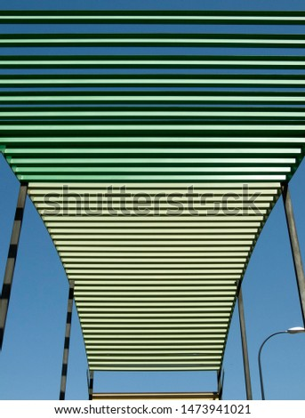 architecture yellow lines, black lines, green lines and blue sky #1473941021
