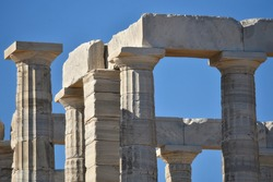 Architrave view of the ancient Greek Doric style  Temple of Poseidon at Cape Sounion, Attica Greece.