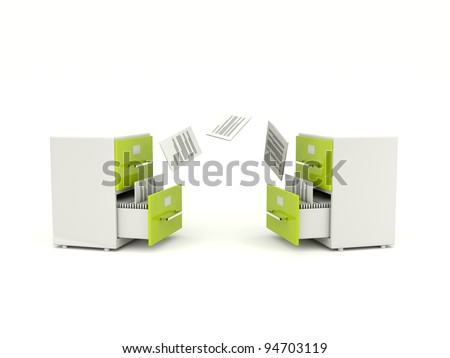 Archive cabinets exchanging files