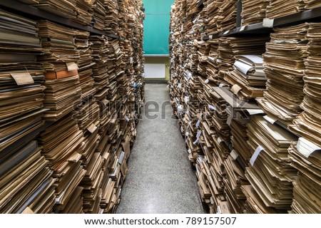 Archive folder, Pile of Files Stockfoto ©