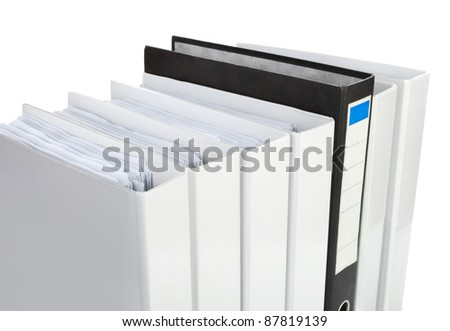 Archive. Many binders on white isolated background.