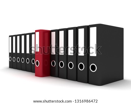 Archive. Many folders on white isolated background. . 3D rendering illustration