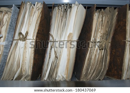 Archive of old document in archives sector