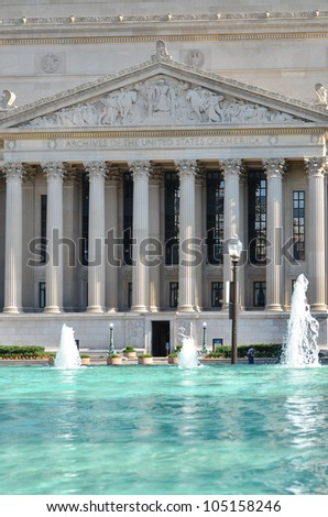 Archives of the United States Building and reflection on the pool - Washington DC