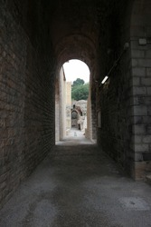 archway in the ancient roman theatre is Sagunto, Spain