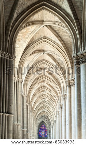 Archway in the gothic cathedral of Reims, France