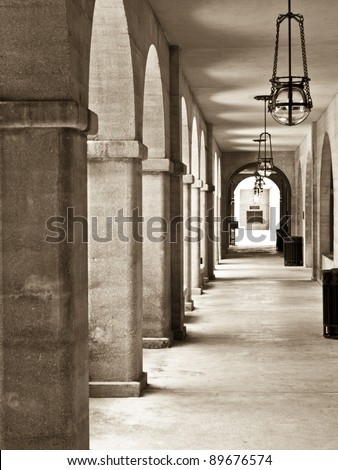Archway in the Lightner museum building. St.Augustine, USA - stock photo