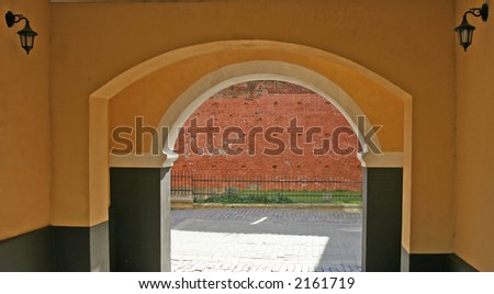 Archway in the old city (Riga, Latvia)