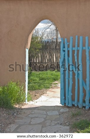 Archway leading to a court yard in Santa Fe, NM.