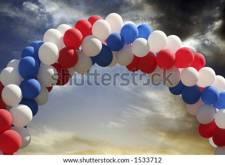 Archway of balloons with evening sky background, digital picture that is great as a photographer's prop for isolated image insertion